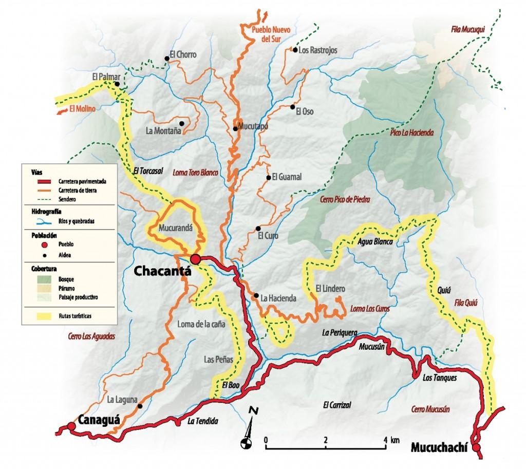 Mapa de rutas en Chacantá
