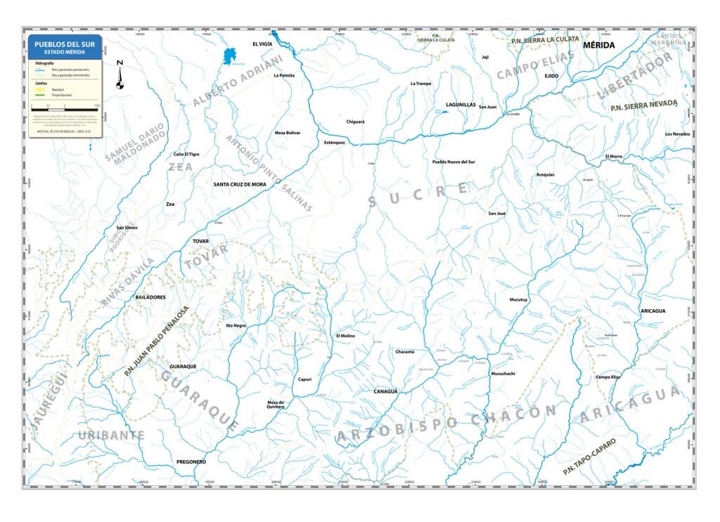 Mapa Hidrográfico de los Pueblos del Sur