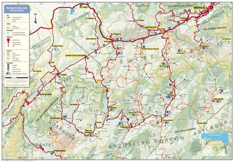 Pueblos del sur de mérida, Mapa guía / 2a edición 2013
